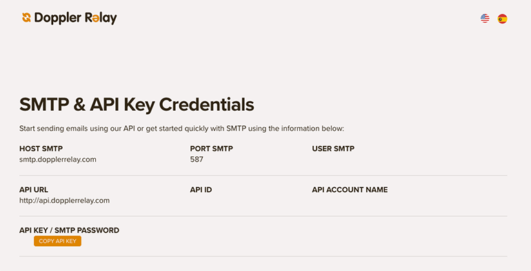 API Key and SMTP Credentials