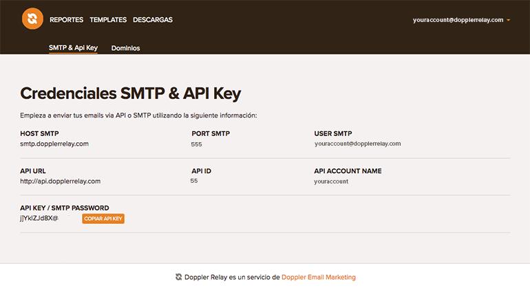 Credenciales SMTP y API Key